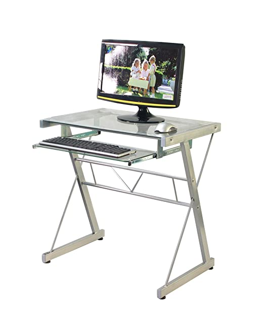 VECELO mesa de ordenador/mueble de oficina escritorio de cristal ...