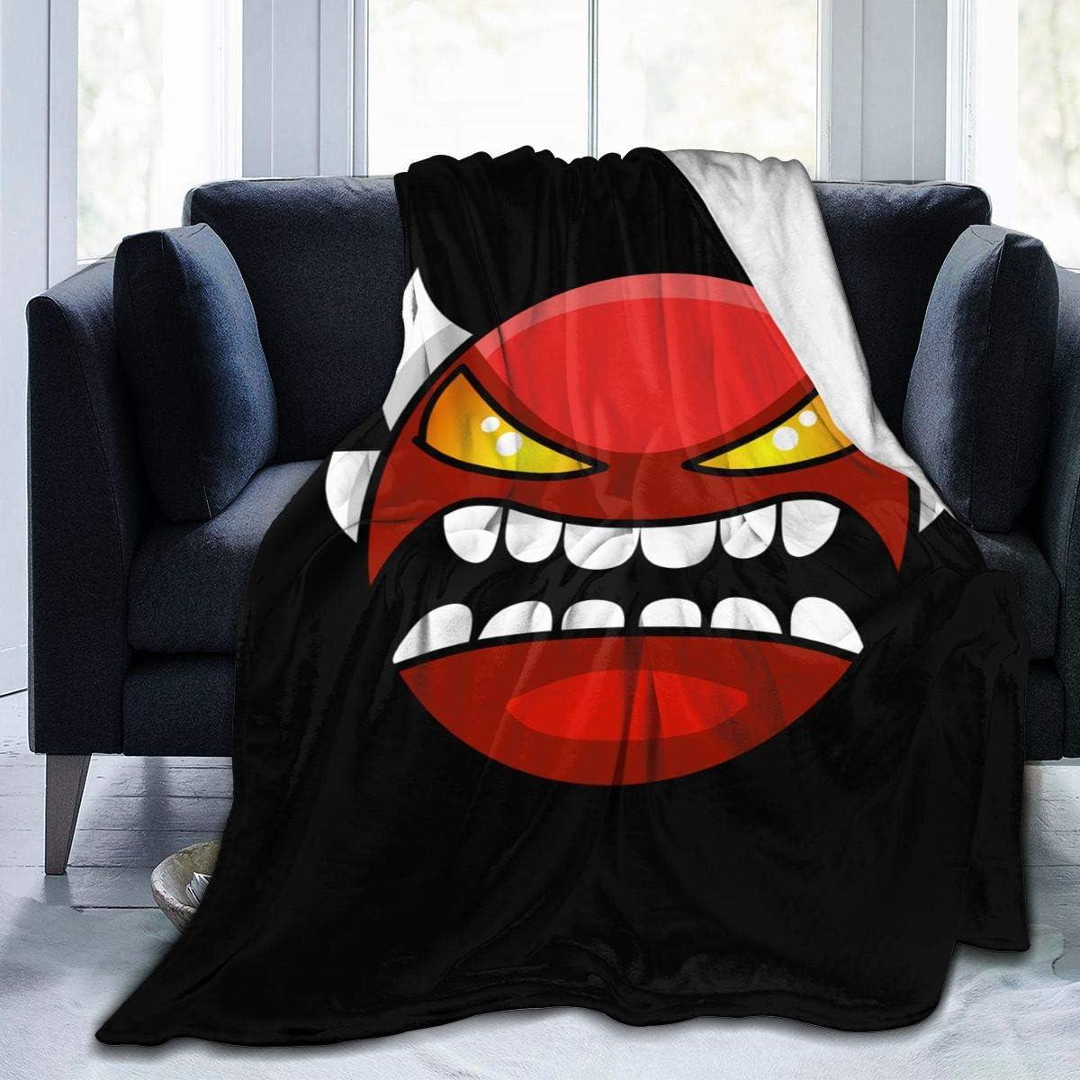 SCHLIGHT Geometry Dash Insane Demon face Flannel Fleece Plush Throw Blankets Lightweight Super Soft Bed Blanket