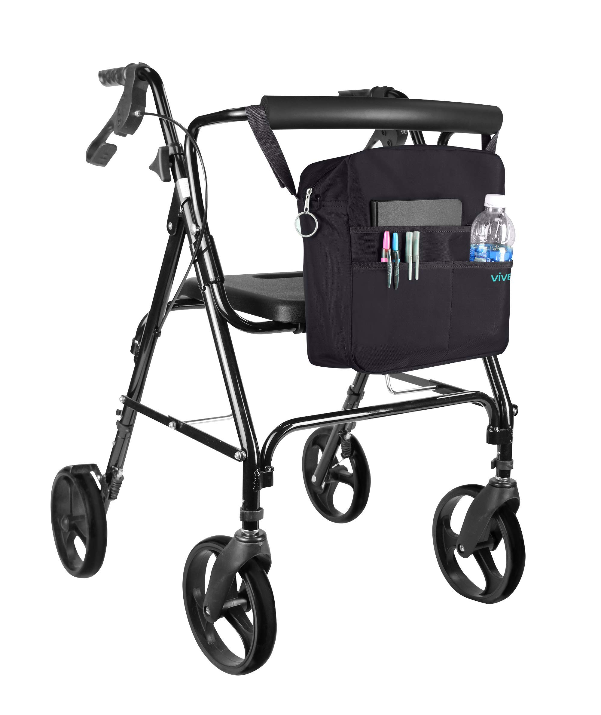Rollator Bag by Vive - Universal Travel Tote for Carrying Accessories on Wheelchair, Rollator, Rolling Walkers & Transport Chairs - Lightweight Handicap Medical Mobility Aid, Black