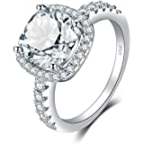 JewelryPalace 3ct Cushion Cut Halo Engagement Rings for Women, 14K Gold Plated 925 Sterling Silver Cubic Zirconia Love Promis