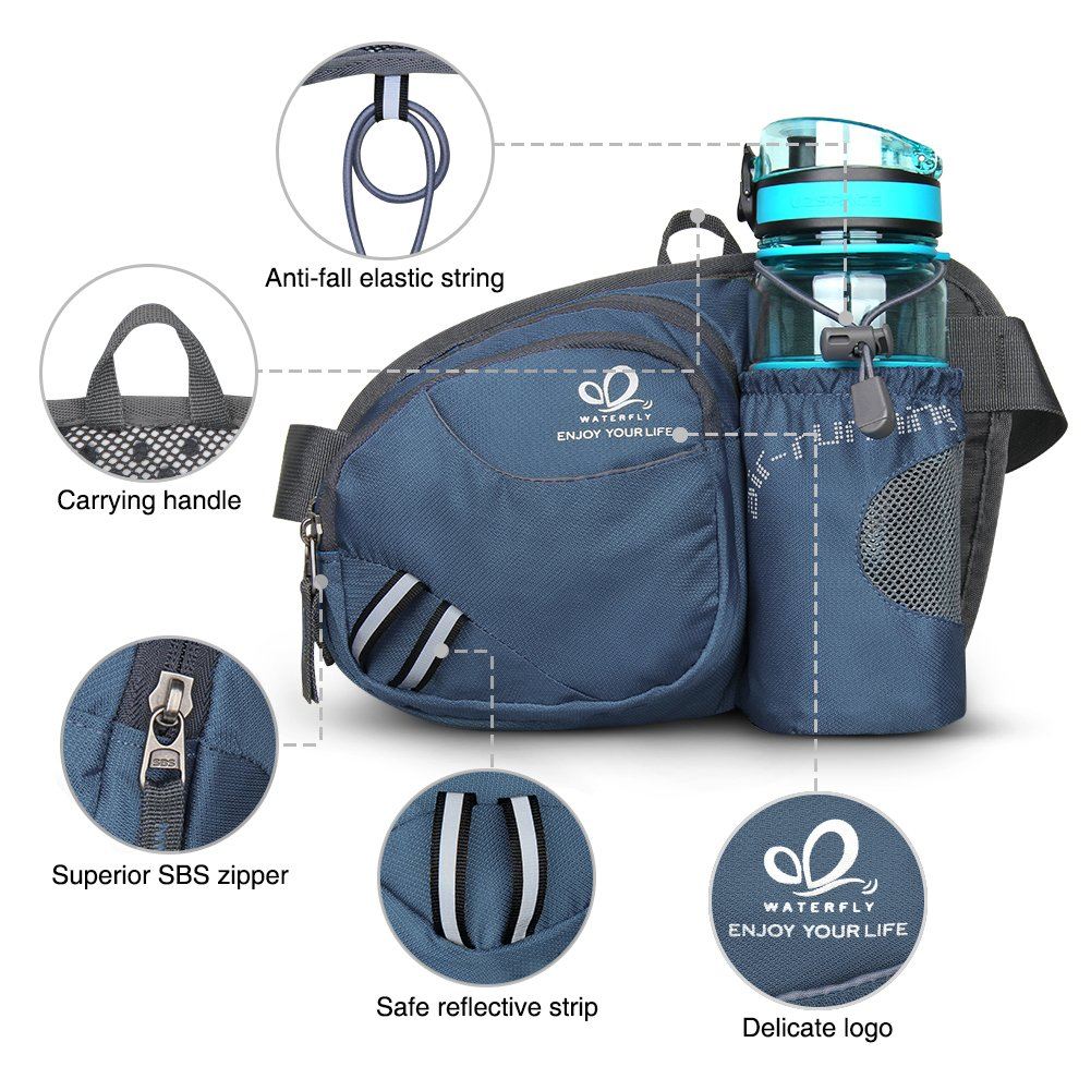 WATERFLY Fashion Durable Unisex Outdoor Waist Fanny Pack with Water Bottle Holder Riding Climbing Sport Bag Hiking Bag Pack Cover best to bring your Cell Phone, smartphone, keys, Purse, wallet, fitnes