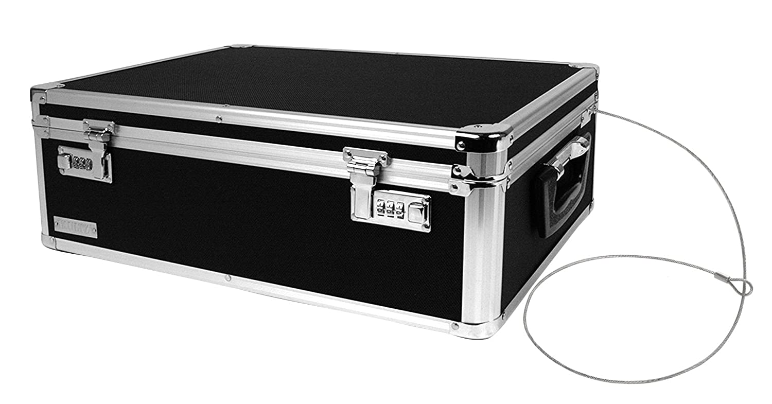 Vaultz Locking Storage Box, 6.5 x 19 x 13.5 Inches, Black (VZ00323)