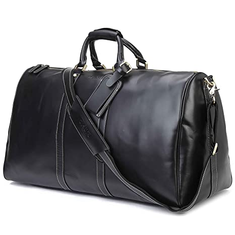 2cb023b86b7 Image Unavailable. Image not available for. Colour  Baigio Men s Brown Leather  Gym Sports Weekend Travel Duffel Bag ...