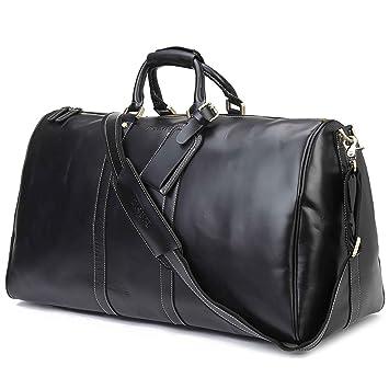 BAIGIO Mens Leather Holdall Travel Weekend Bag Carry-on Luggage Overnight Duffle  Bag (Black)  Amazon.co.uk  Luggage 30d369281f