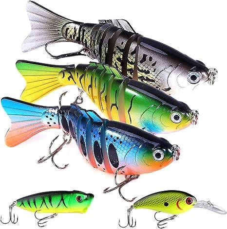 Amazon.com : Fishing Lures for Bass 3.9 inch 7 Segment Multi Jointed Swimbaits Bass Slow Sinking Hard Lure Fishing Tackle Kits Lifelike : Sports & Outdoors