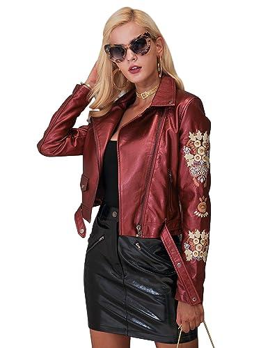 Simplee Women 's floral bordado PU de imitacion de cuero corta moto Zip chaqueta de motociclista