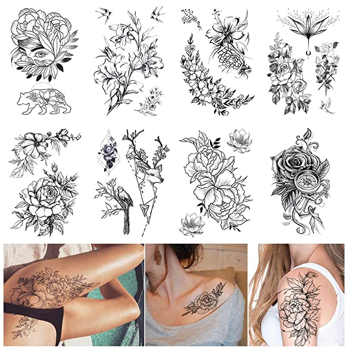 Amazon Com Large Realistic Flower Temporary Tattoos For Women Adults Girls Black Rose Floral Tattoo Sexy Body Tattoo Stickers Realistic Waterproof Fake Tattoo Arm Chest Leg Back Temp Tattoo Paper 8 Sheets