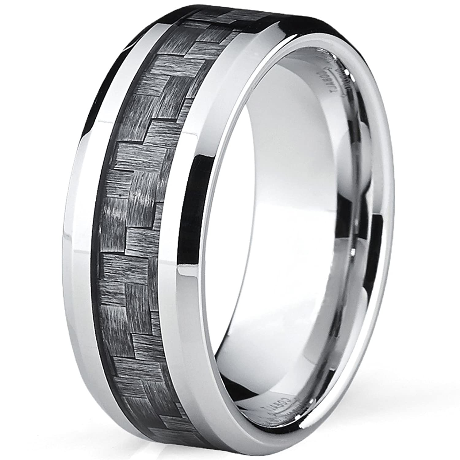High Polish Cobalt Mens Wedding Band Engagement Ring W Gray