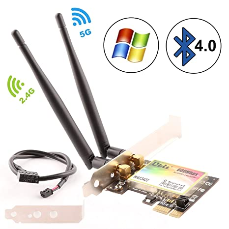 Ubit WiFi Card, 300Mbps Dual-Band PCIe Express Bluetooth Adapter Network Card WLAN WiFi Adapter with Bluetooth 4.0 for Desktop PC Adapter(WAE3422)