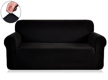 Good Chunyi Jacquard Sofa Covers 1 Piece Polyester Spandex Fabric Slipcovers ( Sofa, Black)