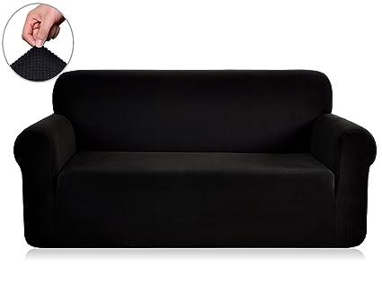 Chunyi Jacquard Sofa Cover 1 Piece Polyester Spandex Fabric Slipcovers ( Loveseat, Black)