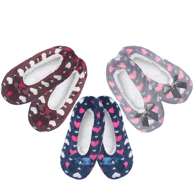 74b4df82b2a Women s Fuzzy Warm Cozy Feet Slippers Non-Slip Lined-Sherpa Plush Fleece (3