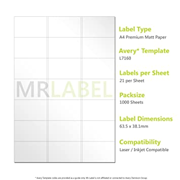 Avery Compatible Labels L7160 J8160 21 Labels Per Page 1000