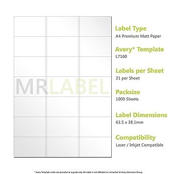 Avery Compatible Labels - L7160 / J8160 21 Labels per page - 1000 ...