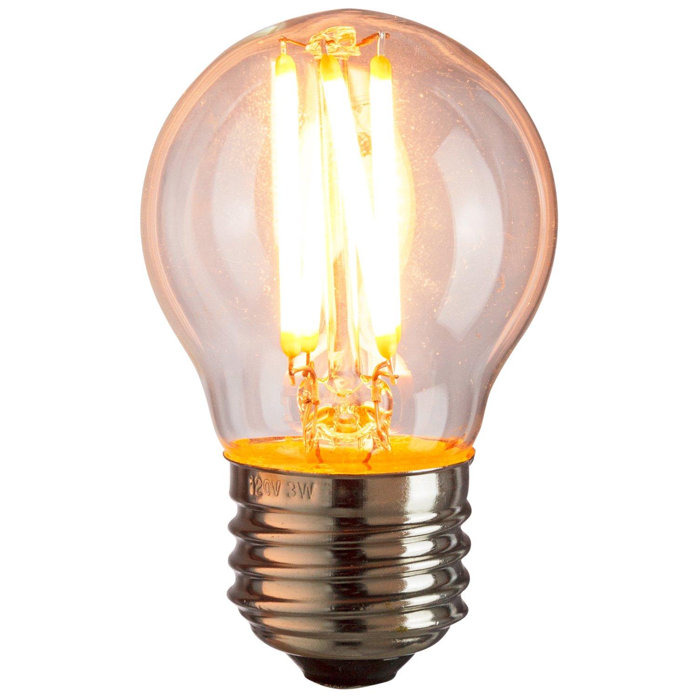 Warm White Dimmable Globe Lightbulb 1 Pack 27K 25W Equivalent Sunlite 81112 LED G16 Filament Light Bulb 3-Watt