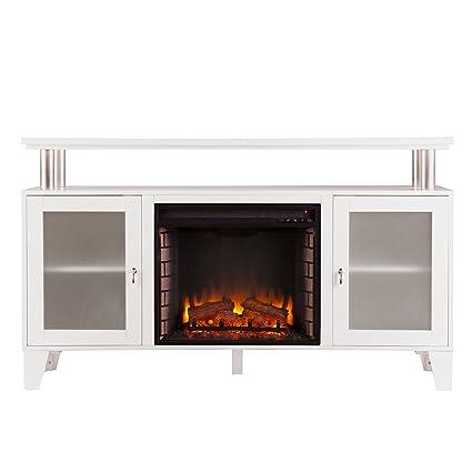 Southern Enterprises Cabrini Media Electric Fireplace 60u0026quot; Wide, White  Finish