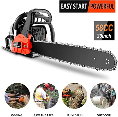 58CC Gas Chainsaws, 3.5HP Guide Board Chainsaw Gasoline Powered Handheld Cordless Petrol Gasoline Chain Saw, Total Length 35_Inch Chainsaw for Farm, Garden and Ranch Red Black