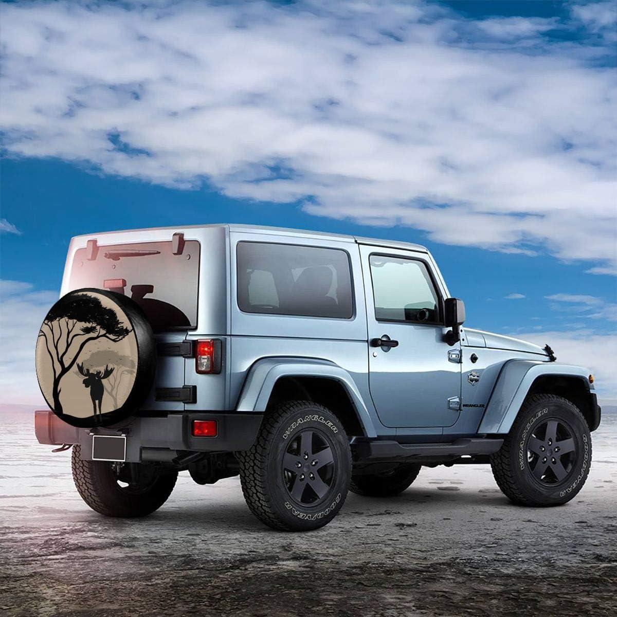 LOKIDVE Happy Camper Spare Tire Cover Wheel Protectors for Jeep Wrangler RV SUV