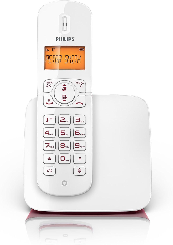 Philips CD1811R - Teléfono fijo inalámbrico, color rojo: Amazon.es: Electrónica