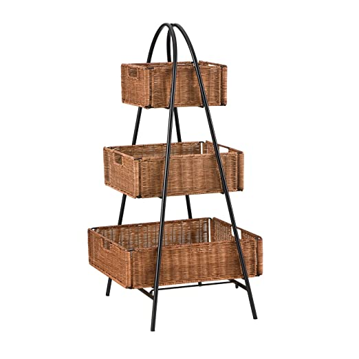 sei rattan 3 tier basket stand amazon co uk kitchen home rh amazon co uk