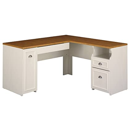 Bush Furniture Fairview L Shaped Desk In Antique White