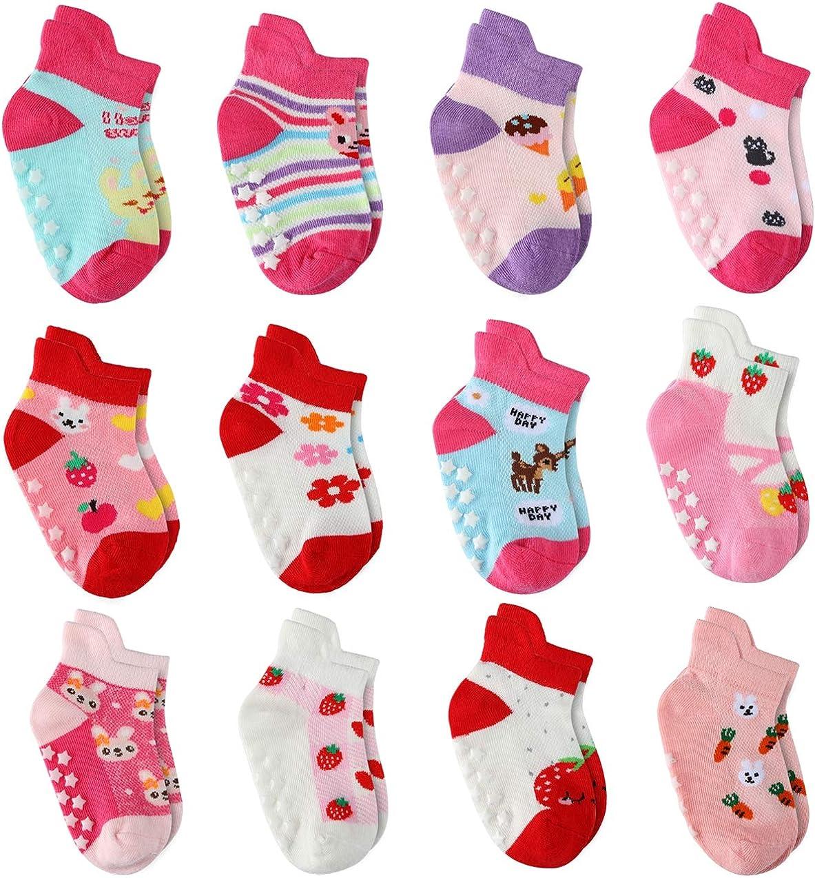 12 Pairs Toddler Girl Non Skid Socks Cute Cotton with Grips Baby Girls Anti-skid Socks