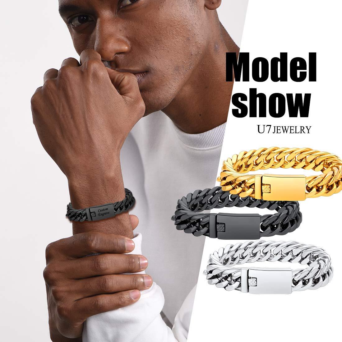 Length 19CM to 21CM U7 Custom ID Bracelet Men Women Stainless Steel 7MM Wide Cuban Curb Link Chain Personalized Message Engrave Bar Bracelet Bangle