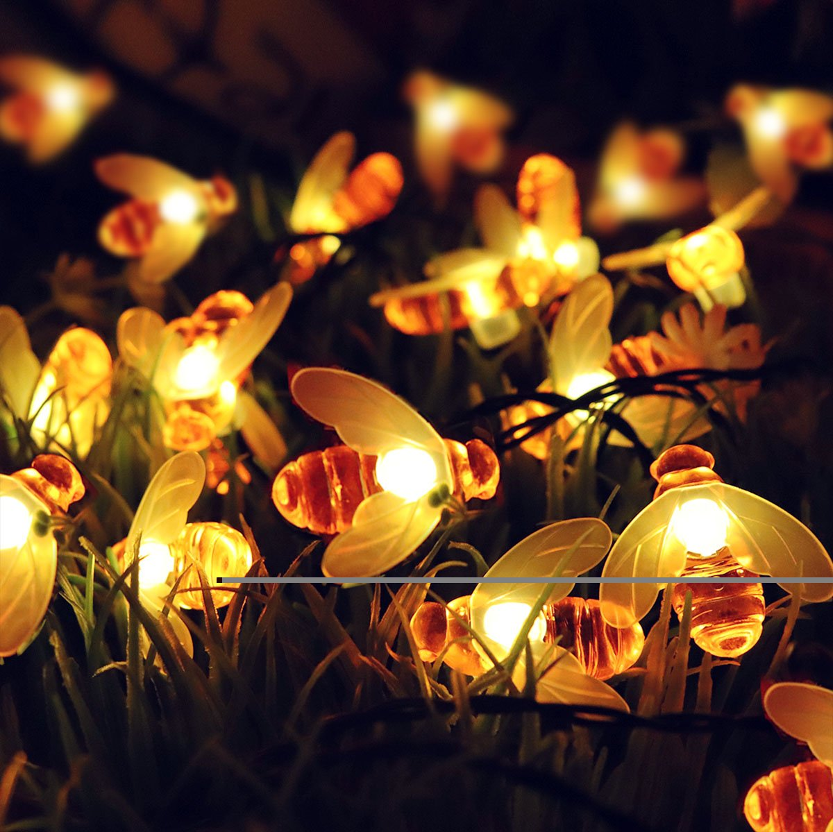 ACE HOME Solar String Lights, 8 Model 30 Led Honey Bee String Lights Starry Fairy Lights for Outdoor Garden Patio Trees Flower Fence Grass Lawn Landscape Holiday Decorations Warm White