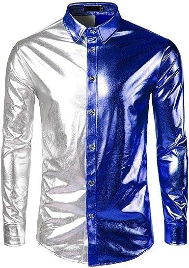Camisa para Hombre, Estilo Informal, Color Dorado, Plateado, Negro, Azul, Morado, Manga Larga, Botones de Discoteca, para Disfraces, Fiestas, Clubes, Cosplay: Amazon.es: Ropa y accesorios
