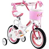Royalbaby princess pink girl's kids bike + Adjustable removable stabilisers+ front pink basket.