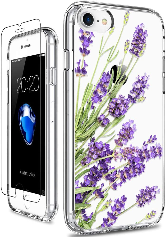 GiiKa iPhone SE 2020 Case, iPhone 8 Case, iPhone 7 Case with Screen Protector, Clear Protective Case Floral Girls Women Hard PC Case with TPU Bumper Cover Phone Case for iPhone 8, Purple Flowers
