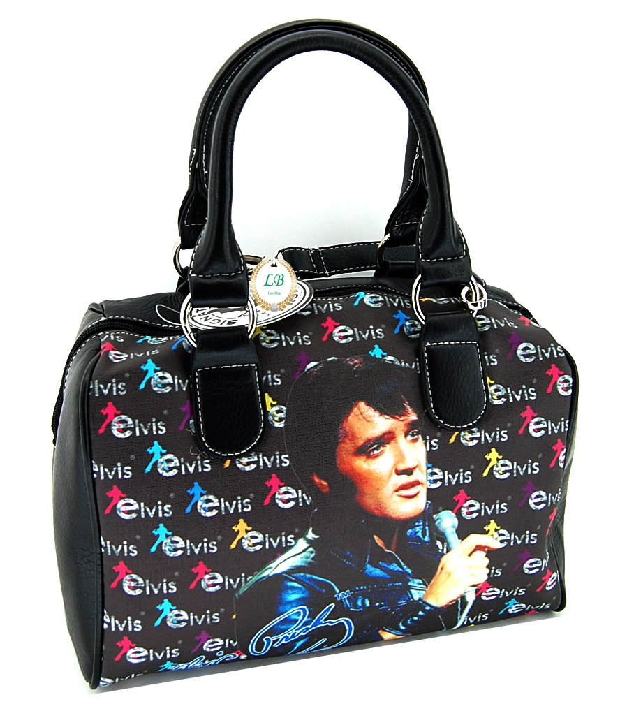 Elvis Presley Satchel Handbag, Black Jacket with Microphone by Elvis Presley LuxeBag