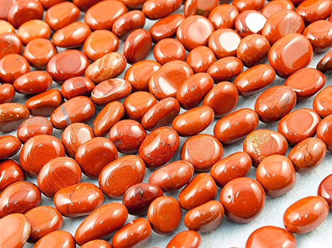20 PERLES PIERRE NATURELLE JASPE ROUGE 10 mm OVAL NATURAL STONE BEADS RED JASPER