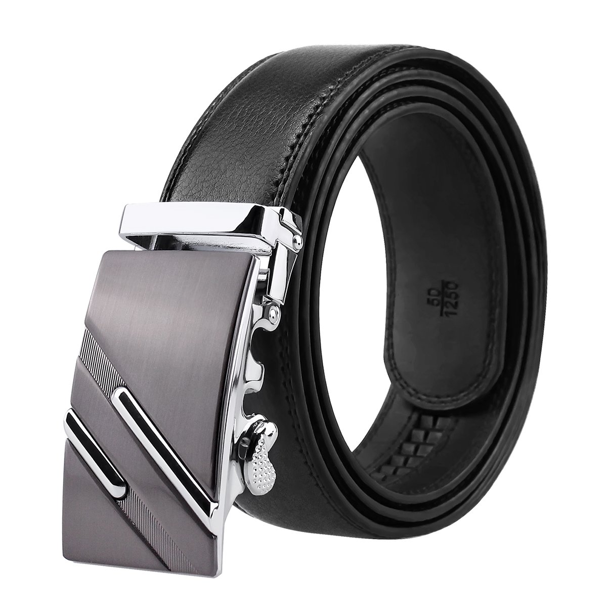 Men's Genuine Leather Ratchet Belt Black Dress Belt with Automatic Buckle 1 3/8 Wide Gift Box