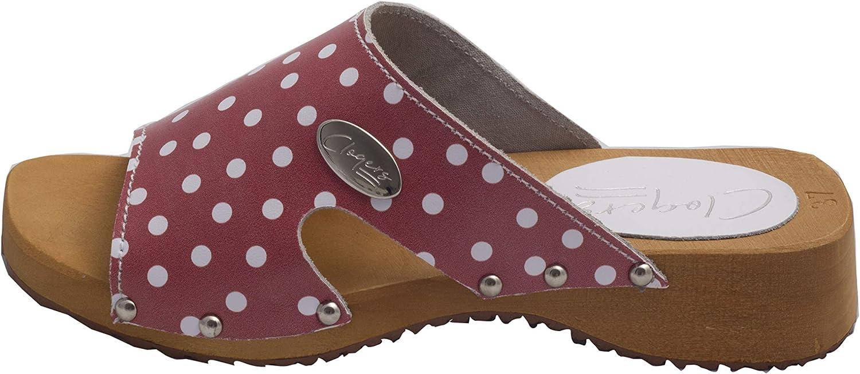 ABSoft Clogs KBR14 Pantofole da Donna in Legno Colore: Bianco//Rosa