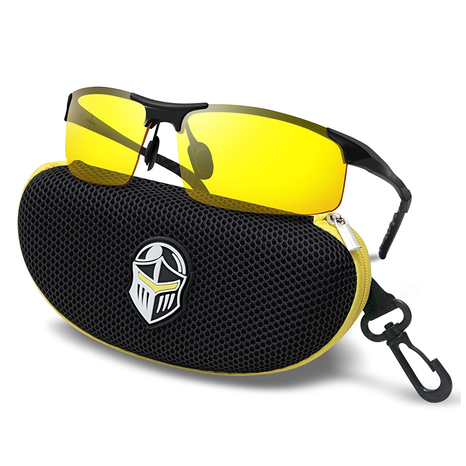 decbeabc01b Amazon.com  BLUPOND Night Driving Glasses - Semi Polarized Yellow Tint HD  Vision Anti Glare Lens - Unbreakable Metal Frame with Car Clip Holder -  Knight ...