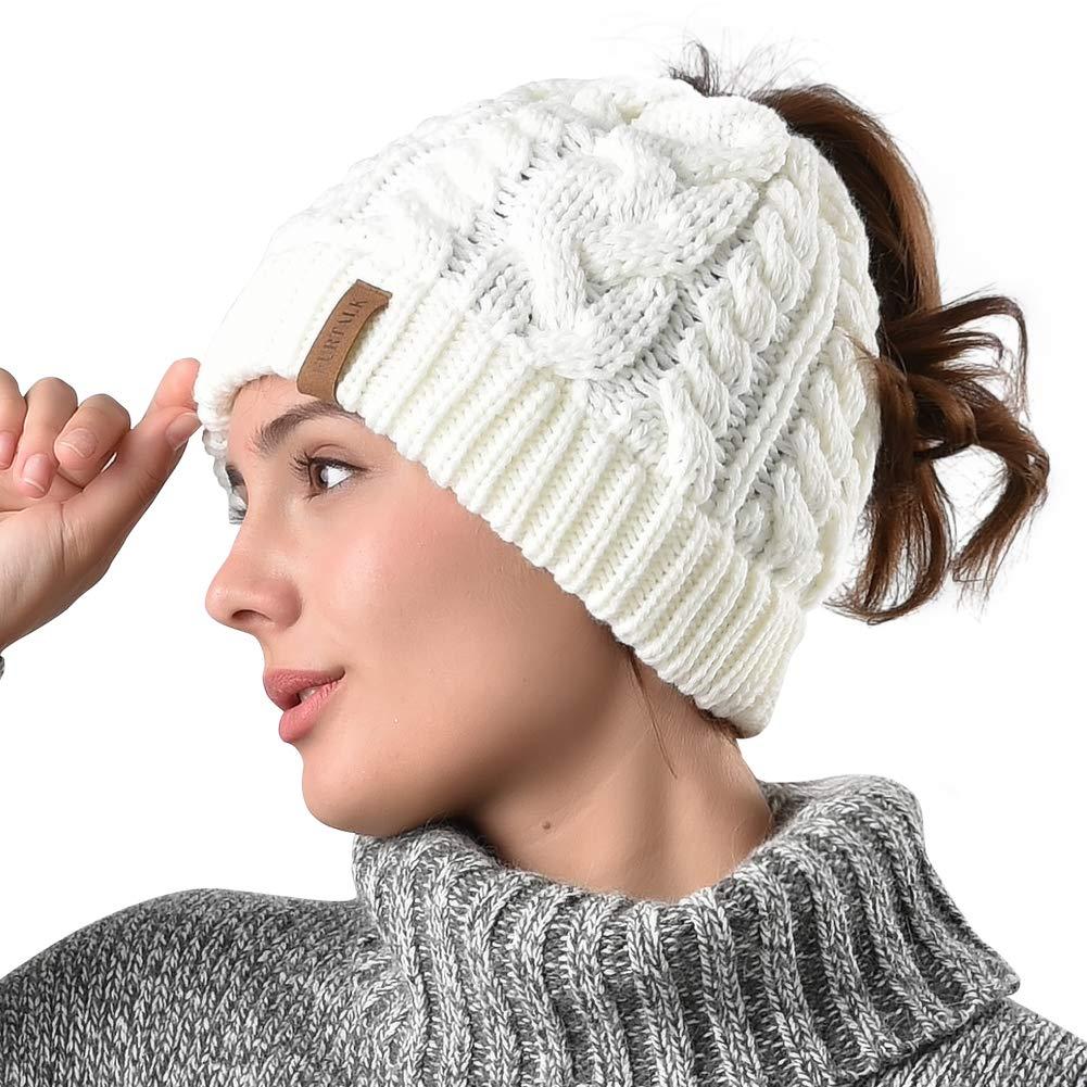 Women Winter Hat Knit Beanie-FURTALK New Outdoor Runner Messy Bun Ponytail Cap AD014-black
