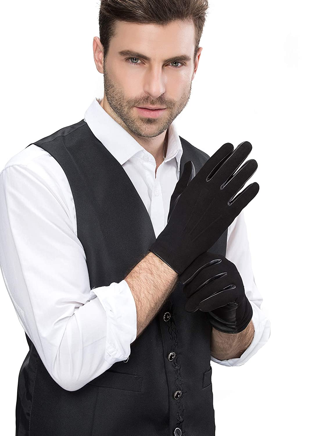 YISEVEN Mens Touchscreen Sheepskin Suede Leather Gloves Three Points