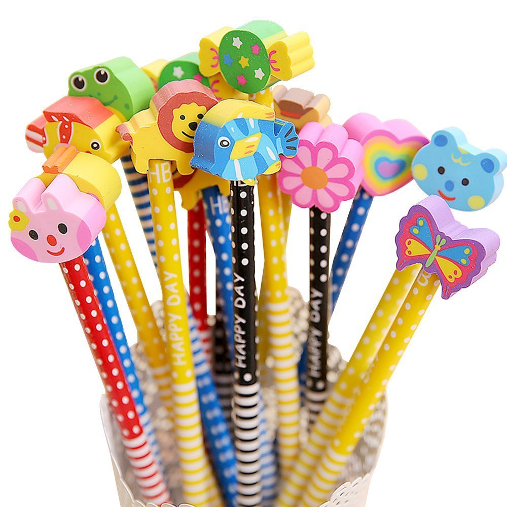 WIN-MARKET Cute Cartoon Eraser Pencil Bon Voyage HB School Novelty Writing Wooden Pencil For Kids RS funny School Stationery Office Supplies (12PCS)