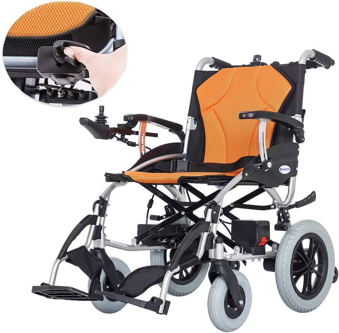 MZLJL - Silla de ruedas eléctrica, ligera, plegable, duradera, con cuatro ruedas, eléctrica, para personas con discapacidad, para viajes mayores al aire libre, cómoda silla de ruedas eléctrica