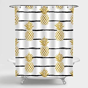 MitoVilla Gold Pineapple Shower Curtain with Black Striped Pattern Bathroom Decor, Summer Tropical Fruit with Brush Lines Bathroom Accessories, Pineapple Gifts for Men and Women, Kids Girls, 72W x 72L