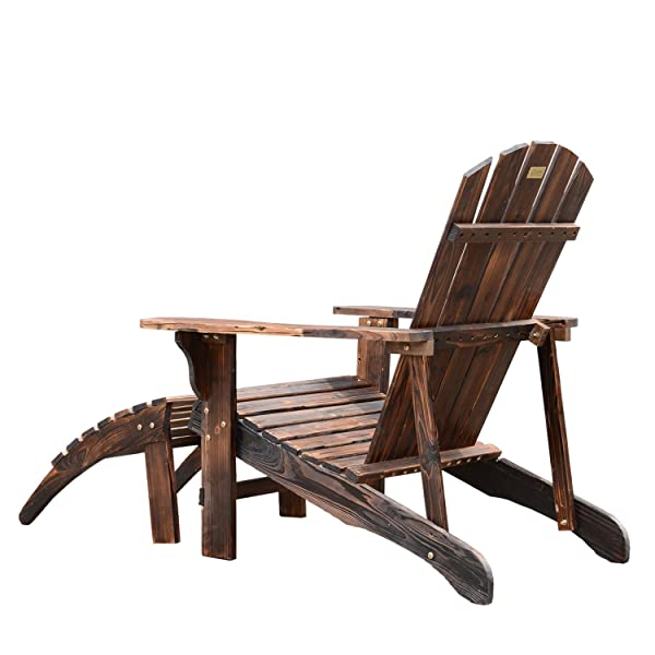 Outsunny Wooden Adirondack Chair Lounger with Detachable Ottoman - Rustic Brown