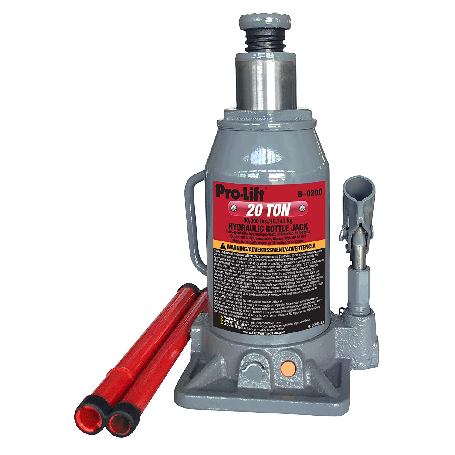 Pro-Lift B-006D Grey Hydraulic Bottle Jack - 6 Ton Capacity (Renewed)