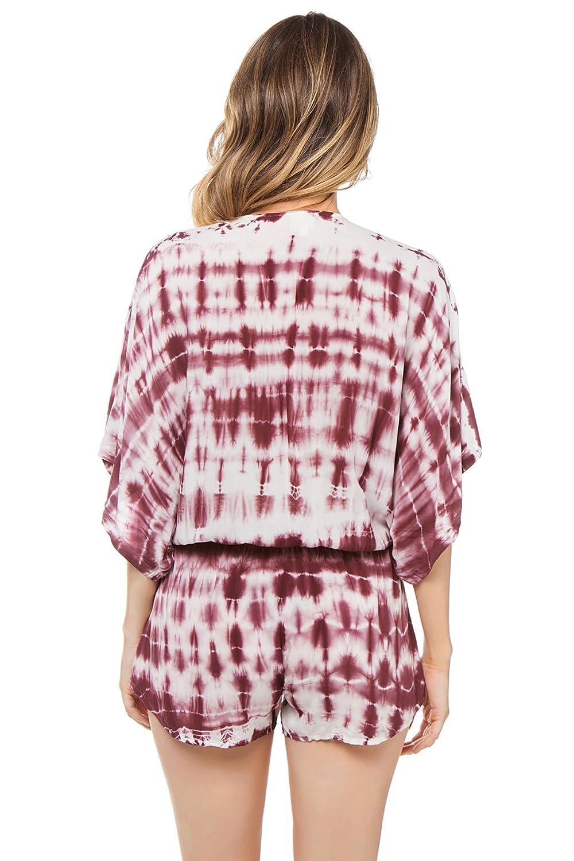 1a11576aba Surf Gypsy Women's Tie-Dye Elastic Waist Romper Swim Cover Up Tan/Burgundy M  at Amazon Women's Clothing store:
