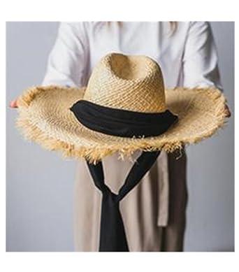 a8fbecc7de54 Handmade Weave Raffia Sun Hats for Women Black Ribbon Lace up Large ...