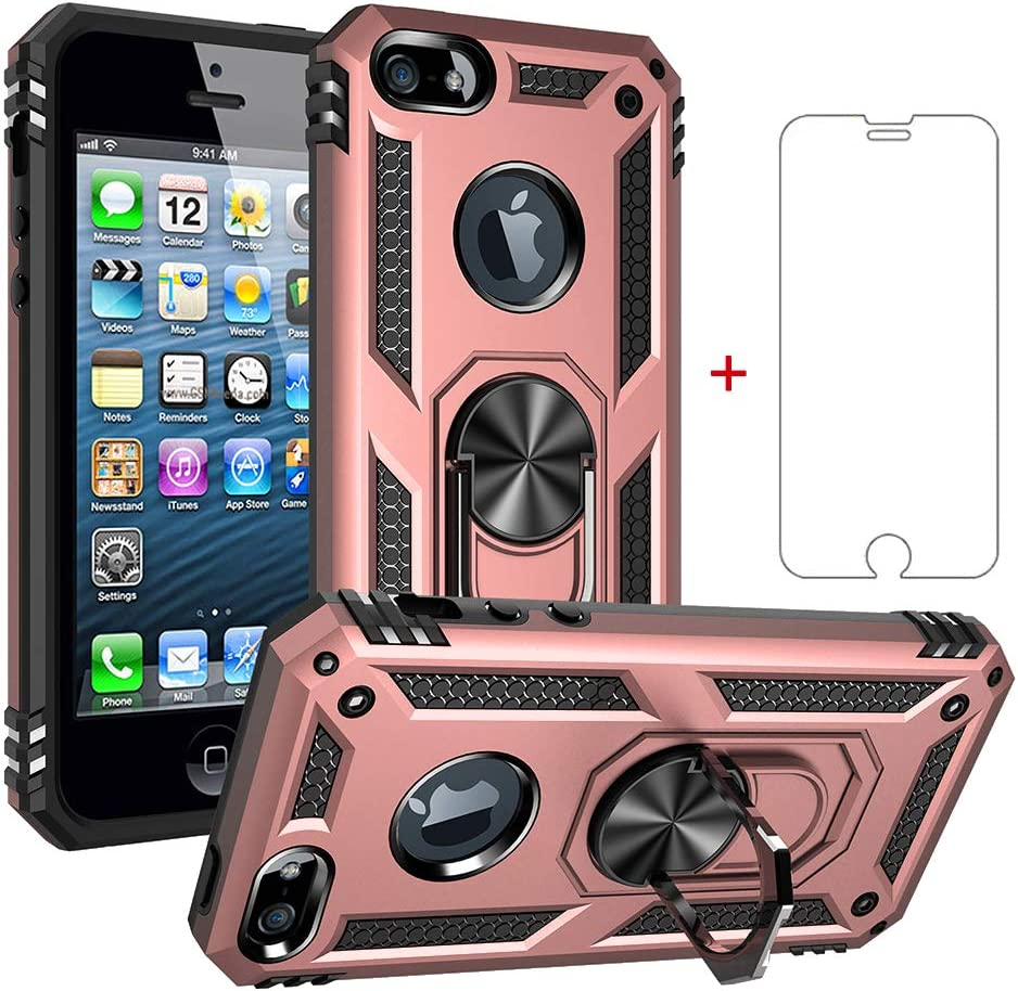 Asuwish Compatible with iPhone 5s 5 se Case with Tempered Glass Screen Protector Ring Holder Stand Women Grip Heavy Duty Armor Fit iPhonesecase s5 5se i5s 5es se5 Shockproof Back Cover Pink Rose Gold