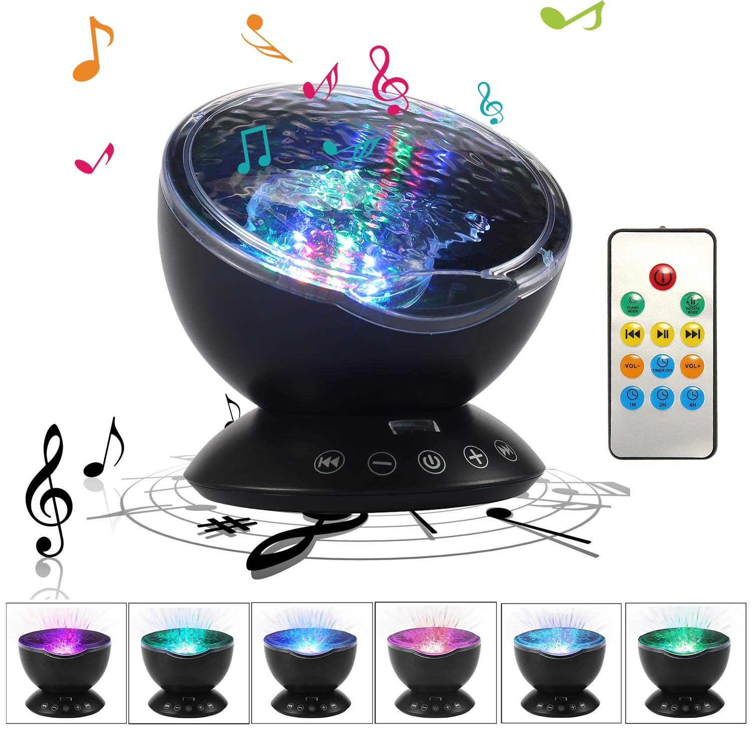 Teepao Ocean Wave Projector, 12 LED Remote Control Undersea Night Light Projector -7 Color Changing Music Player with AUX Interface Star Projector Night Light for Kids