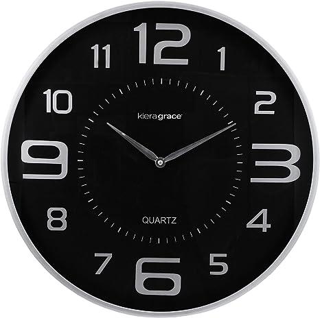 Amazon Com Kiera Grace Decorative Round Wall Clocks 18 Inch Silver Home Kitchen