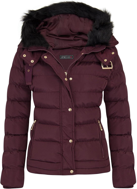 Shelikes Womens Oversized Fur Hooded Jacket UK 8-16