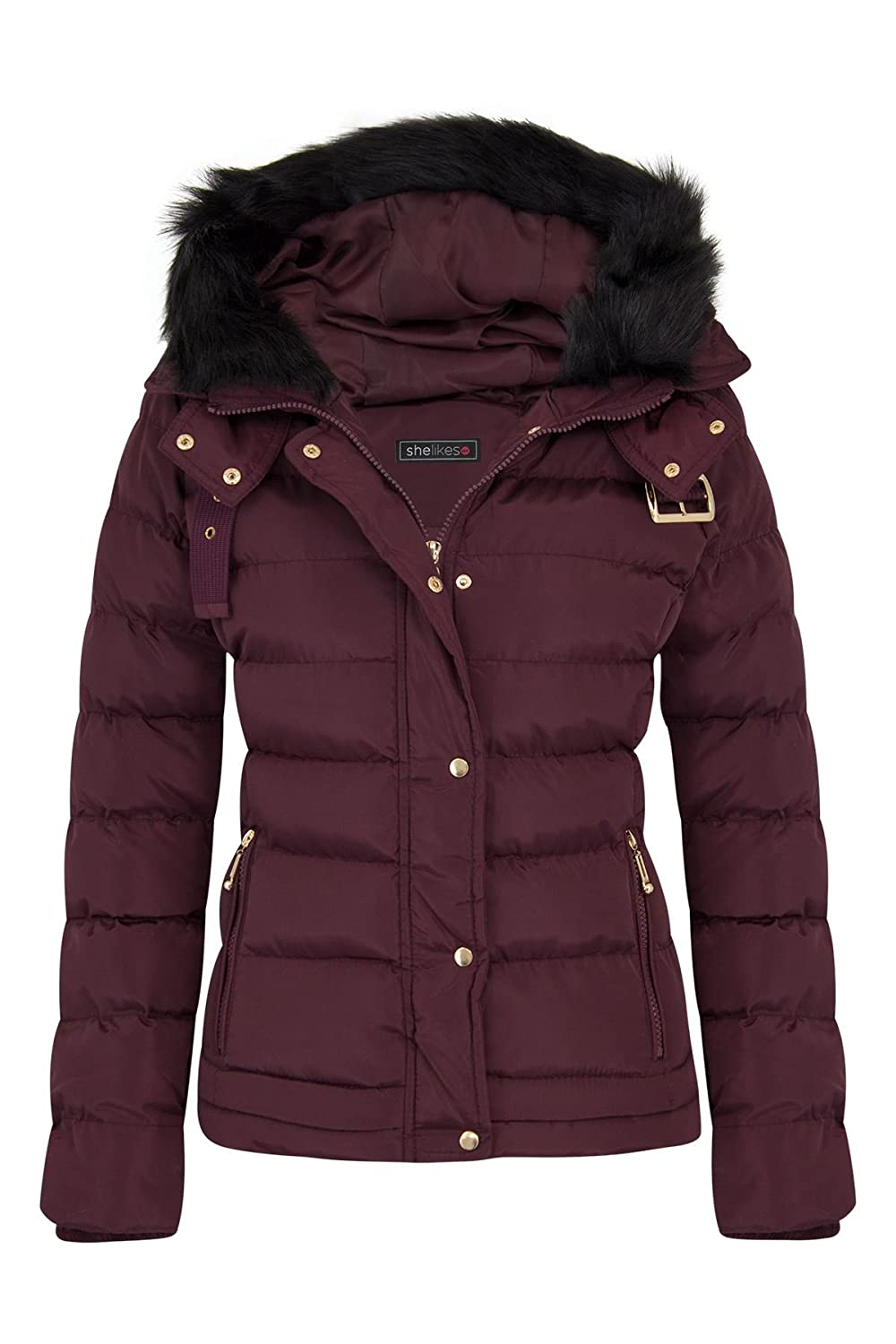 shelikes Womens Quilted Winter Padded Coat UK 8-16